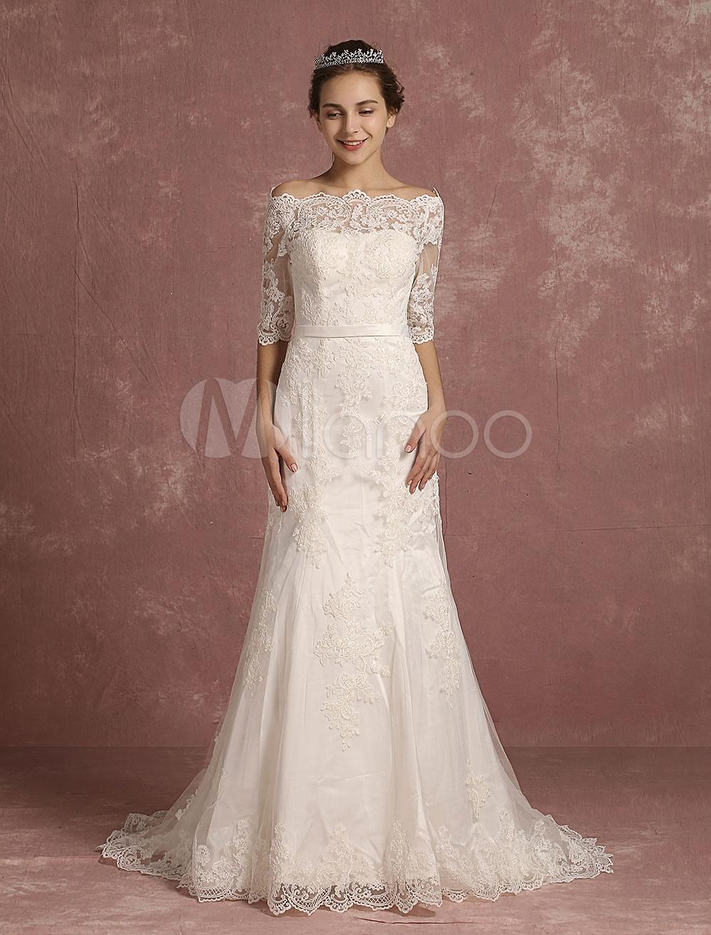 cheap for discount 021c2 895a2 Meerjungfrau Hochzeit Kleid Spitze halbe Ärmel Brautkleid Bateau Perlen  Ivory Brautkleid mit Kapelle Zug
