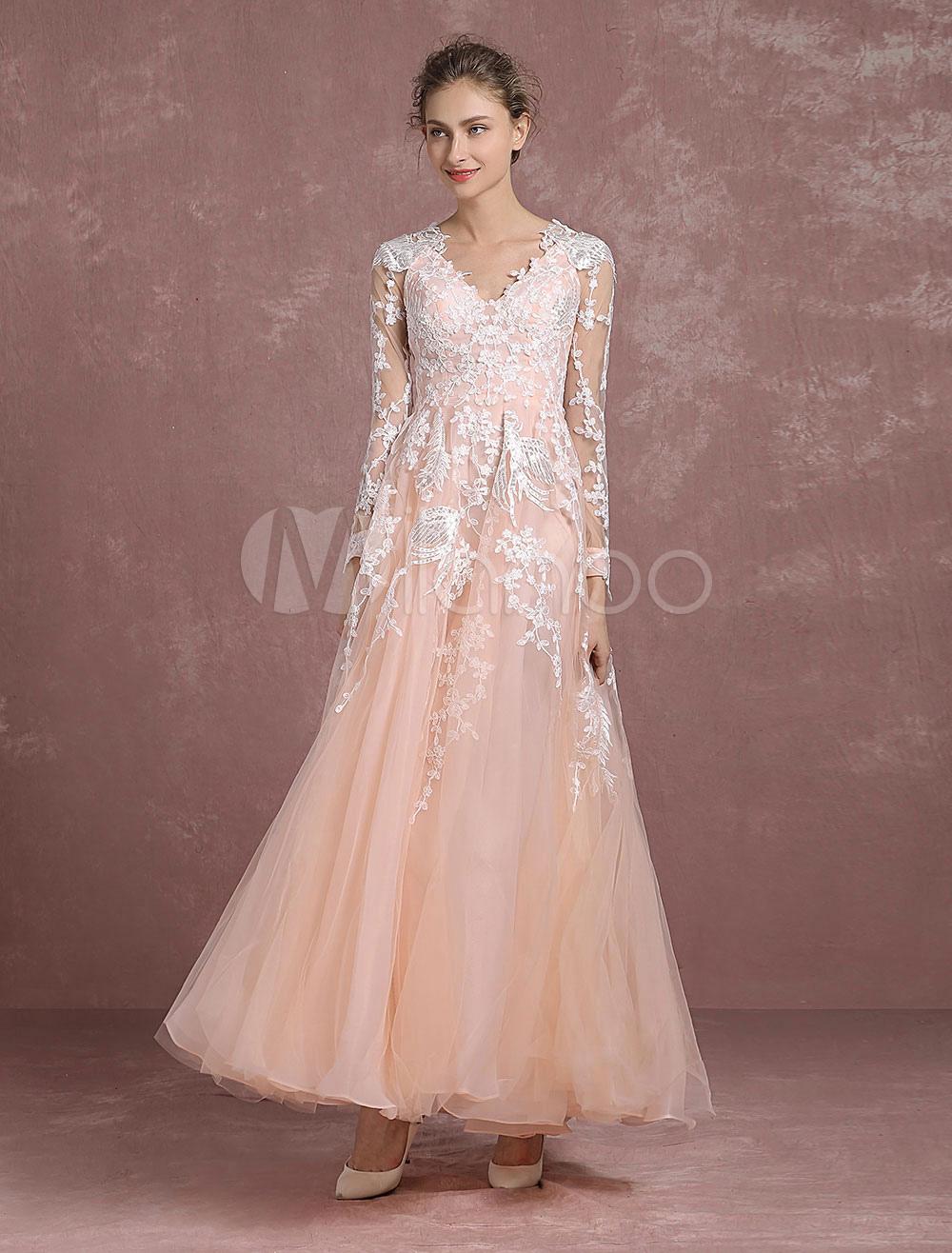 vestidos de gala Color Melocotón con cuello en V con manga larga de ...