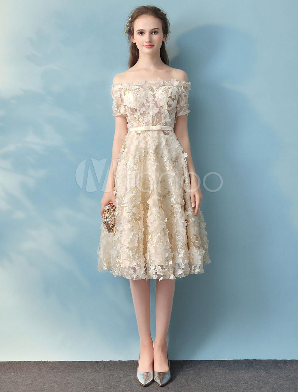 Lace Homecoming Dress Off The Shoulder Prom Dresses Vanilla Cream ...