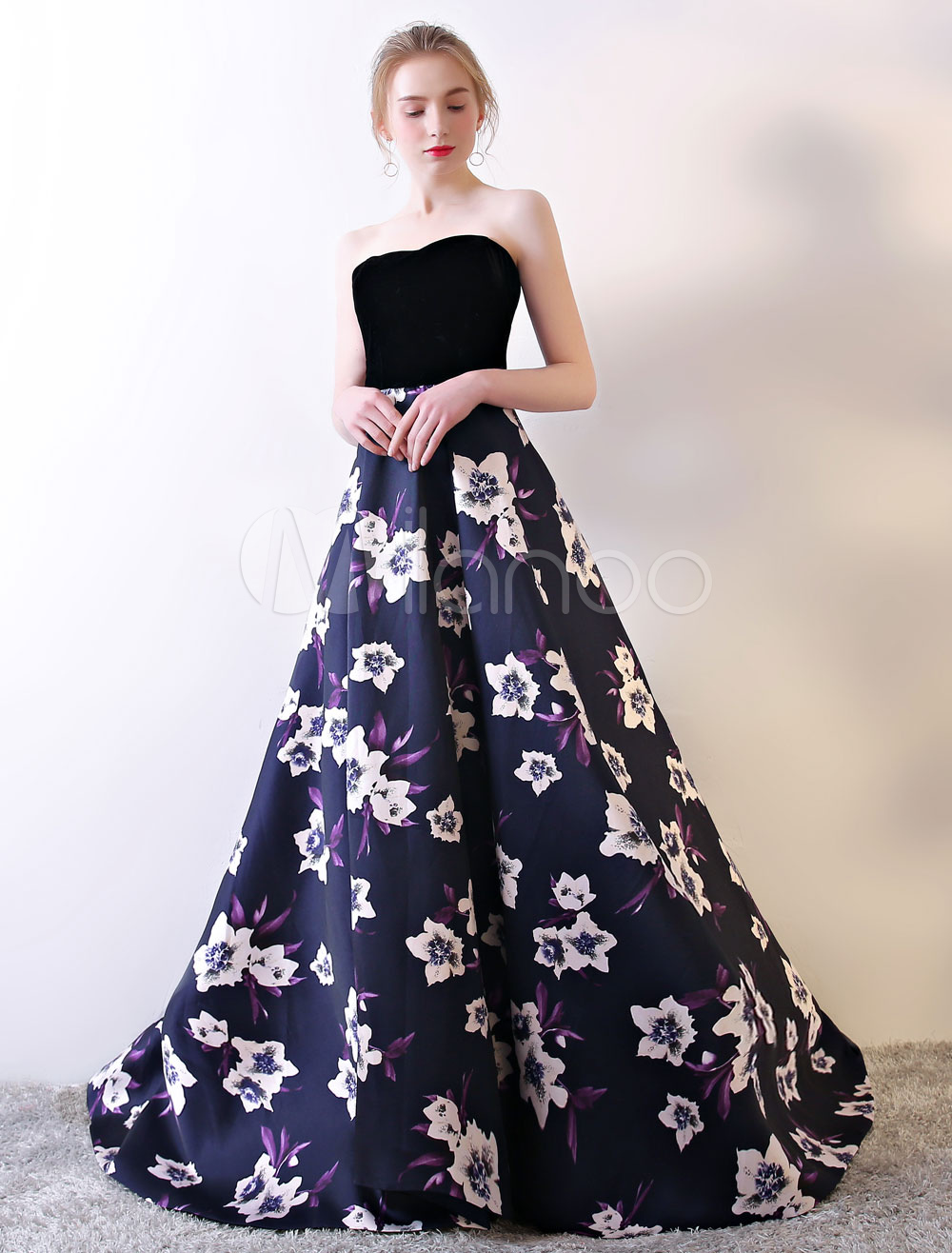 3e2b9369bf1 Strapless Prom Dress Black Floral Print Prom Gown Velvet Satin Sweetheart  Neckline Formal Occasion Dress With Train - Milanoo.com