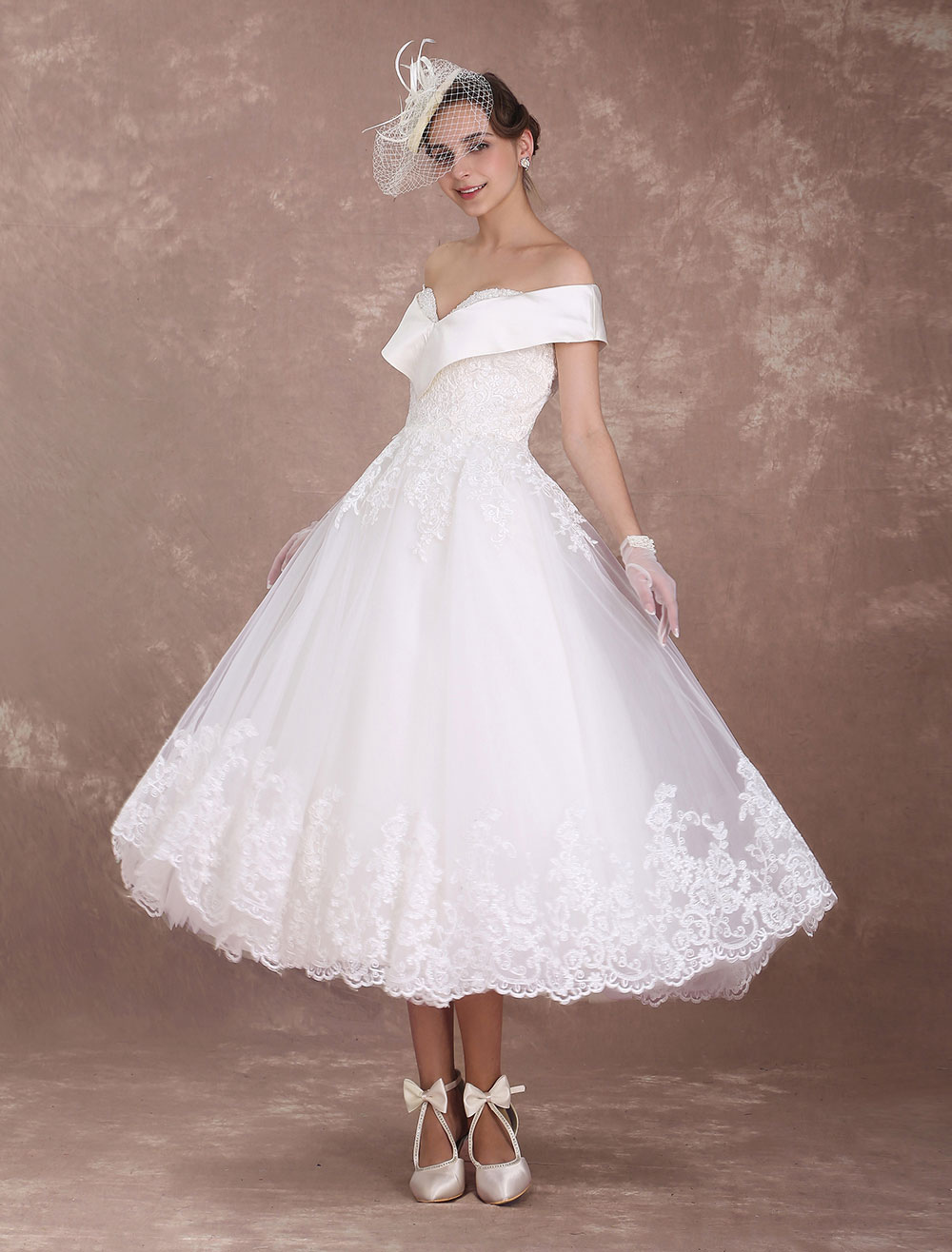 Vintage Wedding Dresses Off The Shoulder Short Bridal Dress 1950 S
