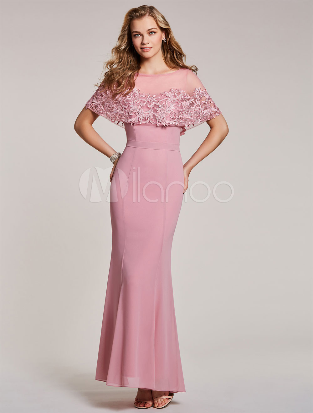 Prom Dresses Long Cameo Pink Mermaid Evening Dress Lace Poncho ...