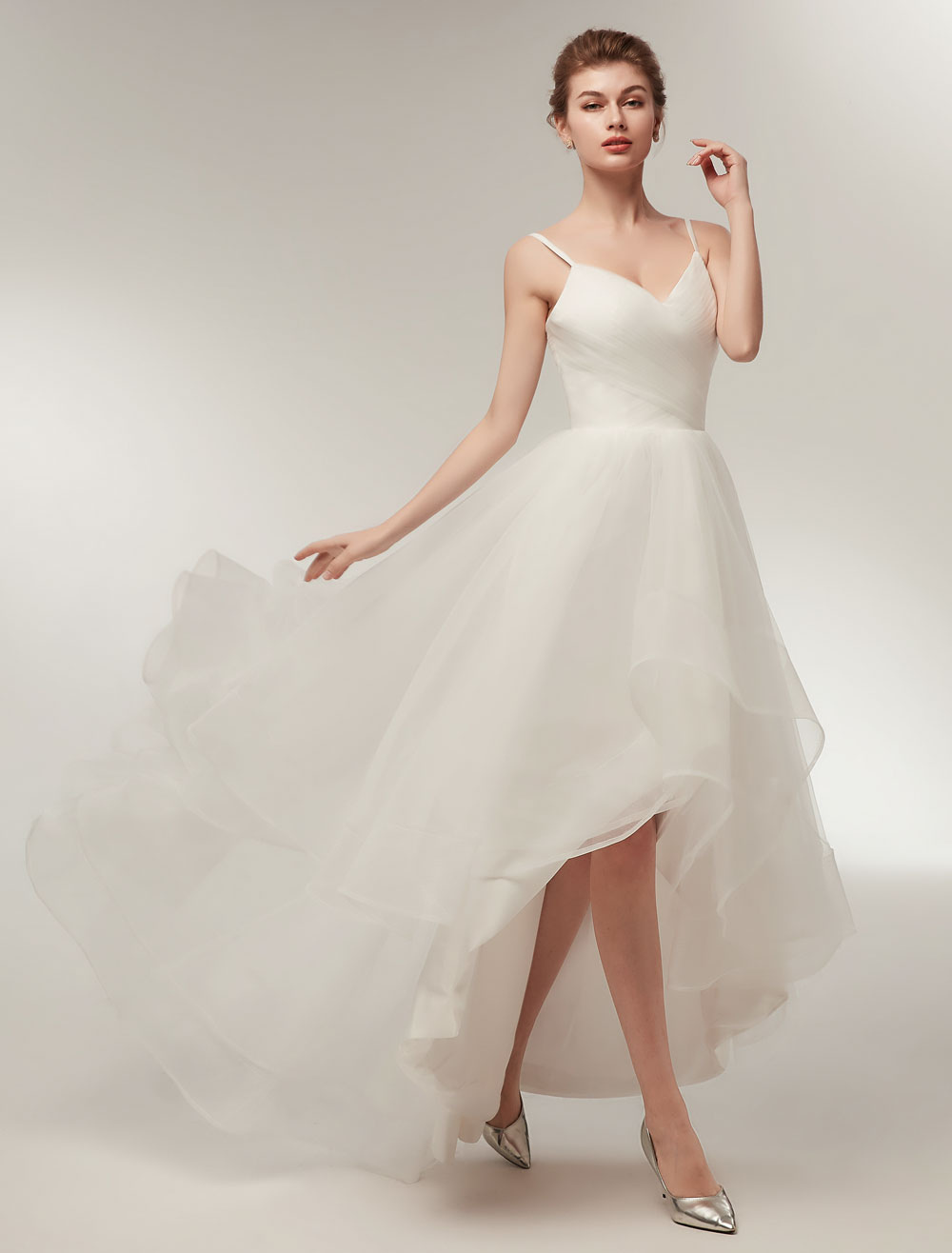Beach Wedding Dress High Low Summer Bridal Dress Ivory Tulle ...