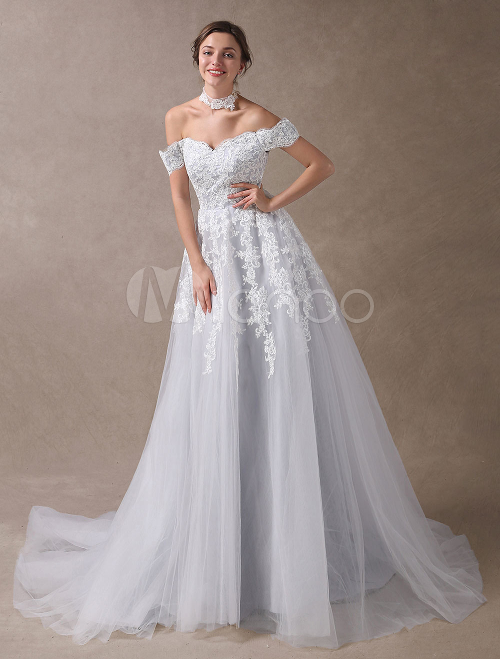 Colored wedding dresses off shoulder bridal dress choker lace colored wedding dresses off shoulder bridal dress choker lace applique tulle light grey wedding gowns with train milanoo junglespirit Image collections