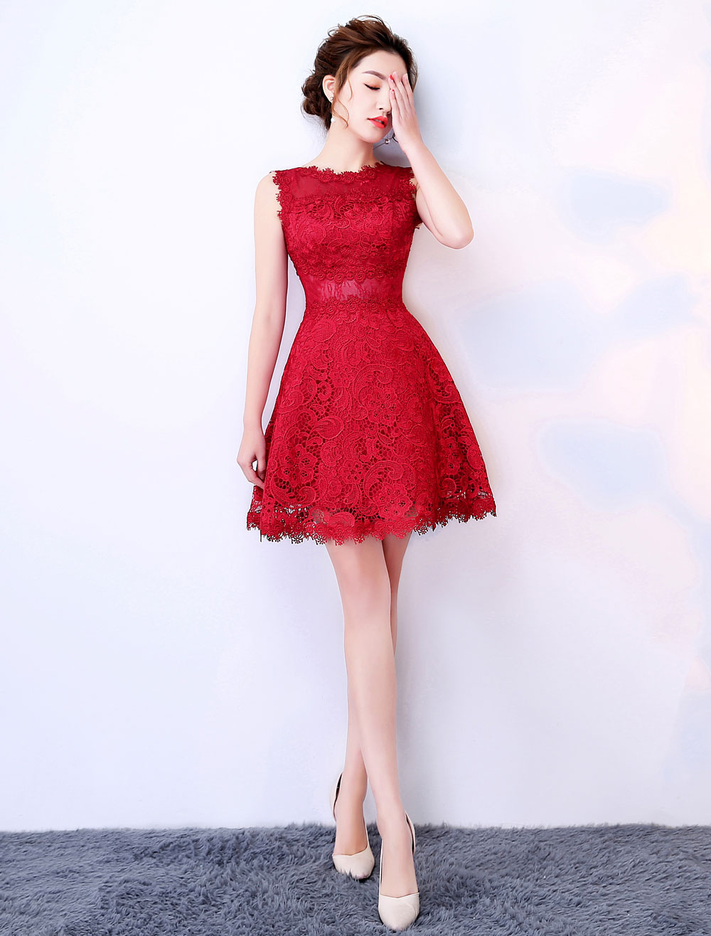 d7d48b6a3a Burgundy Graduation Dresses Lace Short Prom Dress Sleeveless Mini Cute  Party Dress