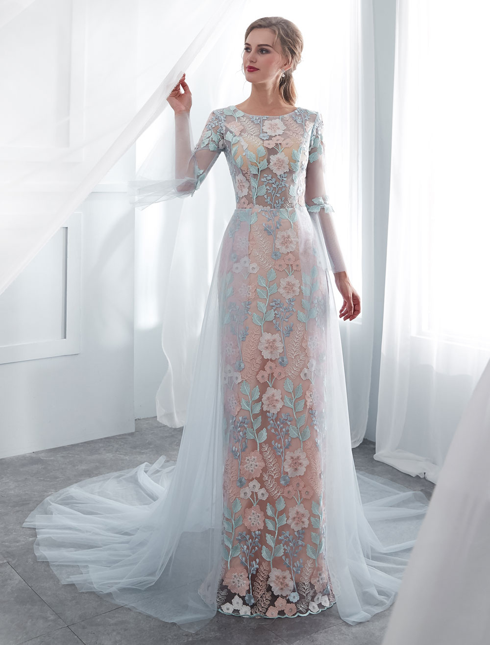 6b229c3b916 Colored Wedding Dresses Baby Blue Lace Long Sleeve Bridal Dress With Train  - Milanoo.com