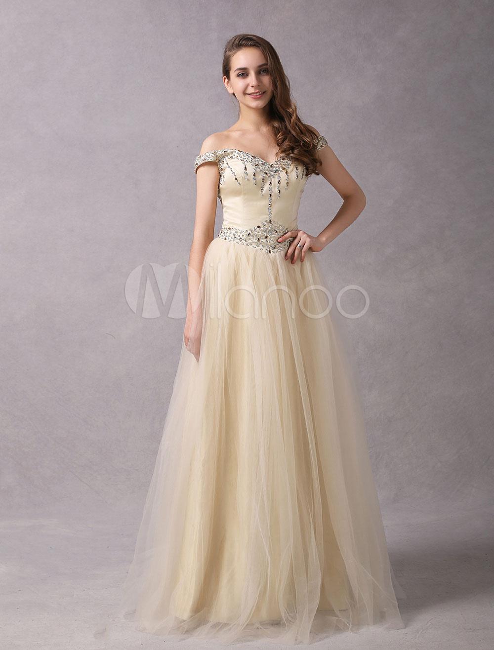best supplier a few days away great deals Abiti da sposa champagne off spalla in rilievo color tulle maxi abiti da  sposa