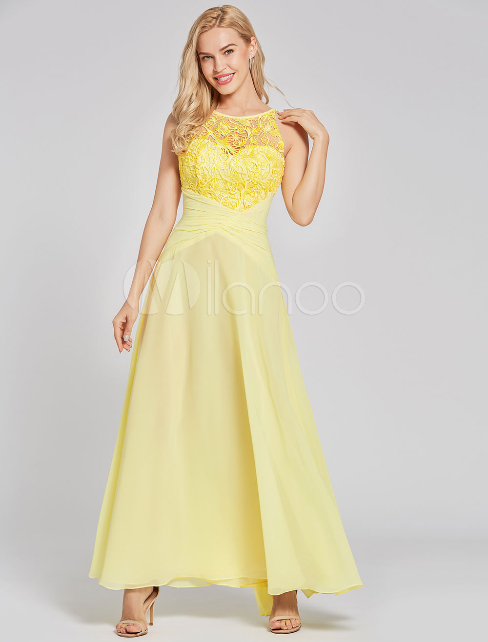 10743dd70 Prom Dresses Long Yellow Chiffon Lace Backless Floor Length Party ...