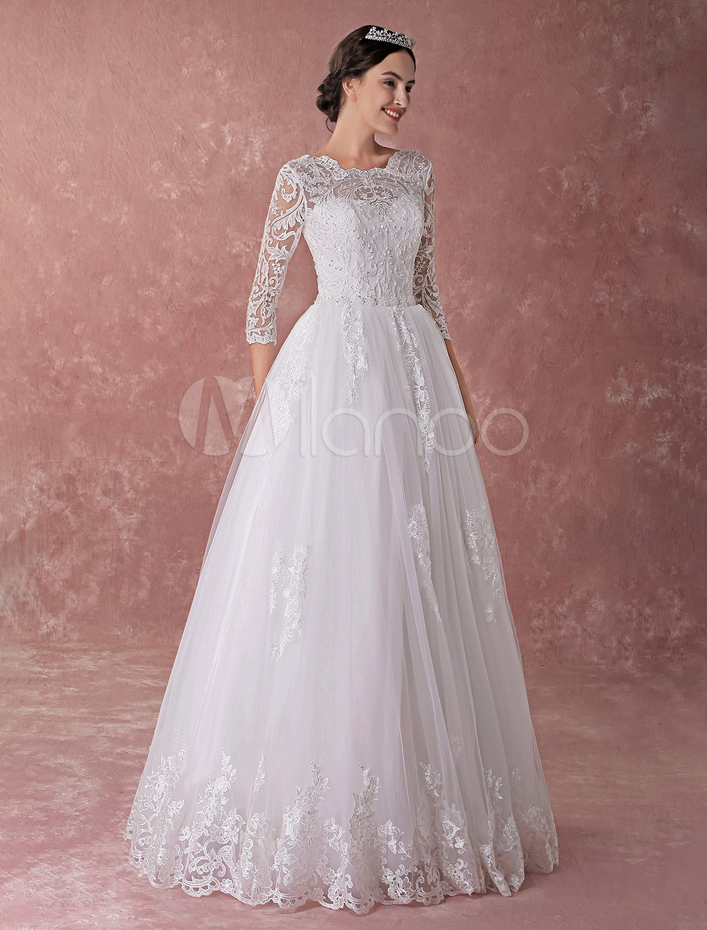 Wedding Dresses Princess Ball Gowns Lace Long Sleeve Beading