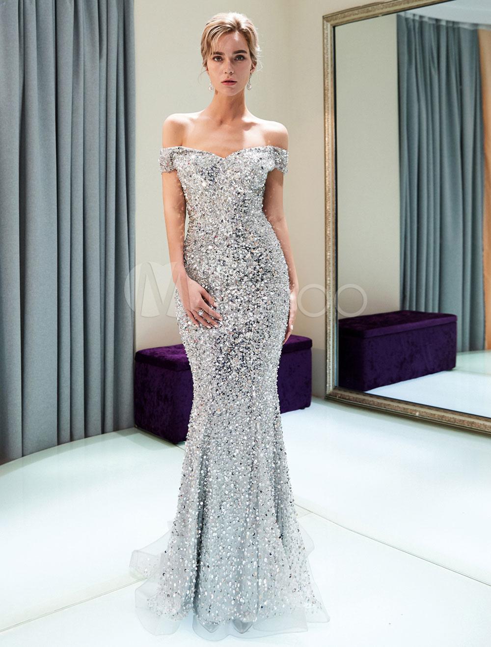 Abendkleider Silber Weg Von Der Schulter Pailletten Perlen Luxus  Meerjungfrau Abendkleid Mit Zug