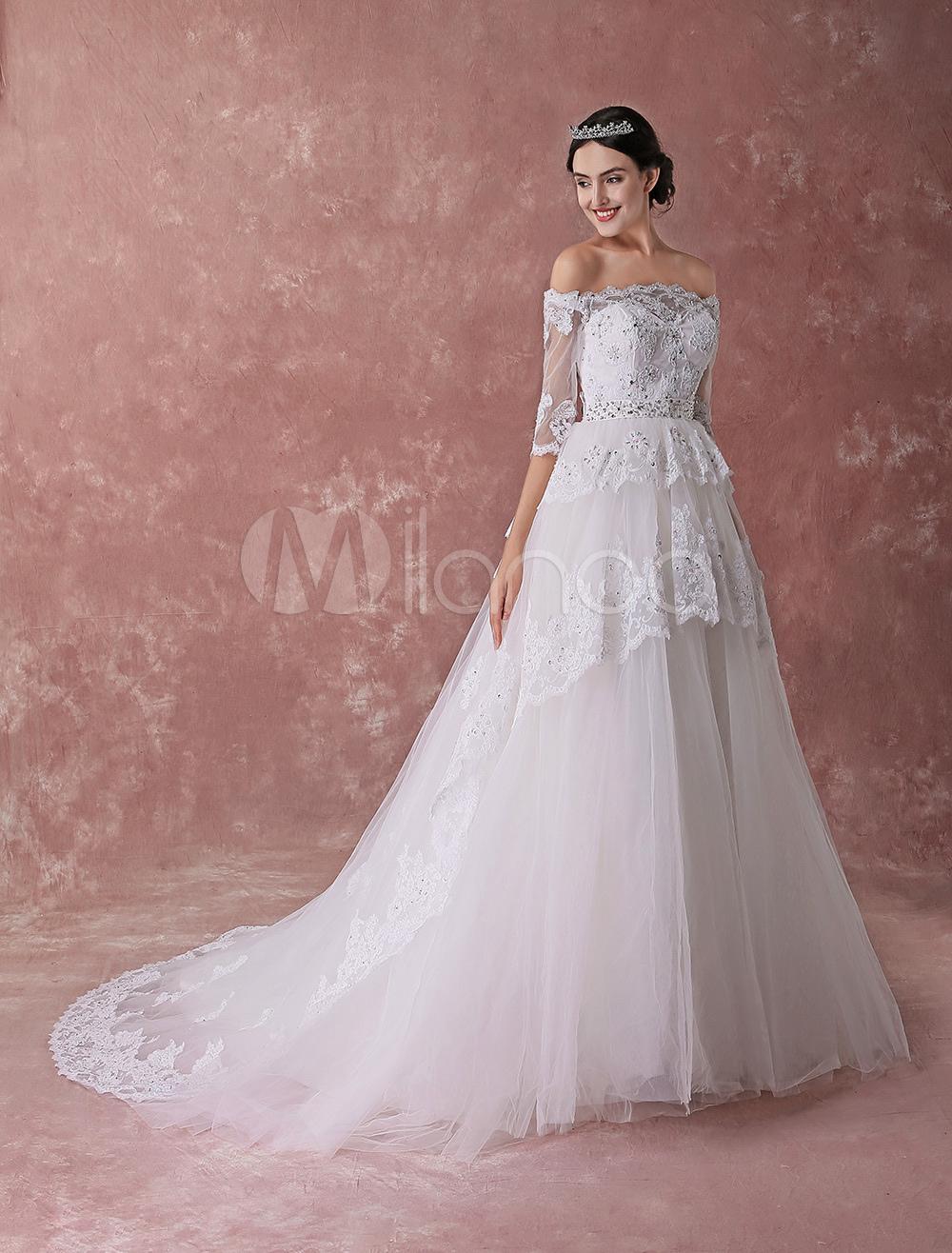 Princess Ball Gown Wedding Dresses White Off Shoulder Bridal Dress ...