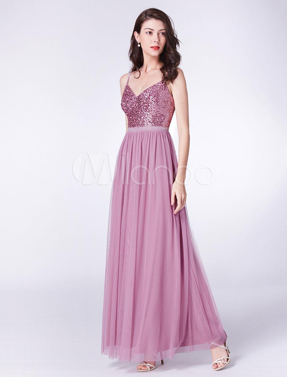 Vestidos de fiesta rosa Vestido largo de dama de honor con cuello en ...