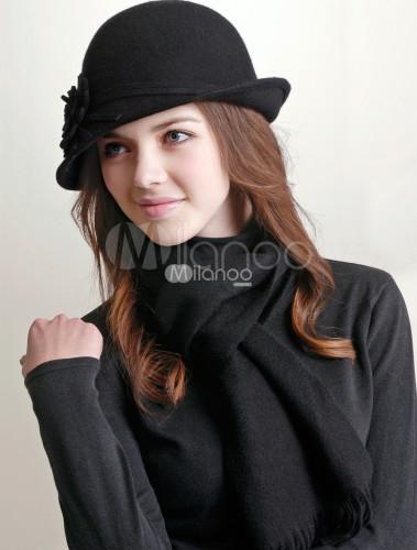 Negro de lana 100% sombrero de fieltro para las mujeres - Milanoo.com 91b90875cce