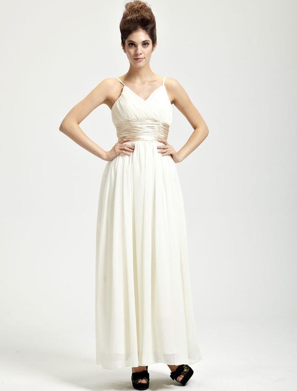 85aee48bb75 Robe de bal A-ligne blanche en soie à fines bretelles - Milanoo.com