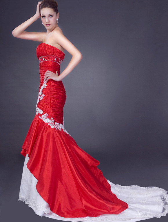 red wedding dresses sweetheart mermaid bridal gown ruched. Black Bedroom Furniture Sets. Home Design Ideas