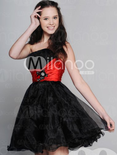 Black Short Strapless Homecoming Dress With Tulle Skirt Milanoo