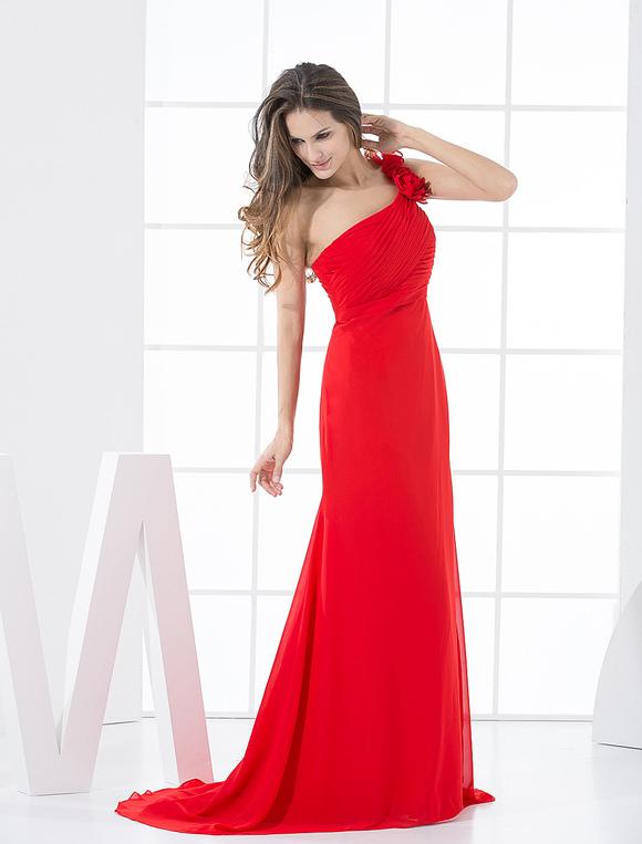 Vestido De Damas De Honor Rojo De Gasa De Línea A Con Un Solo Hombro Hasta El Suelo