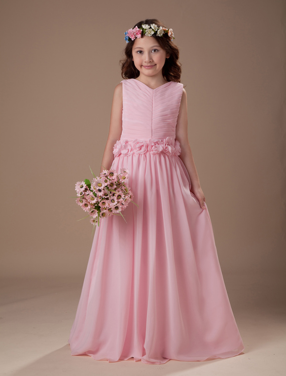 Beautiful Pink Sleeveless V-Neck Satin Chiffon Flower Girl Dress ...