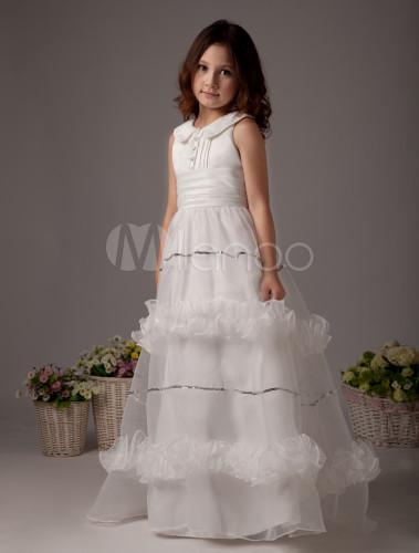 da70ecf6dce ... White Flower Girl Dress Boho Satin Sleeveless Long Dresses For Little  Girls-No.2 ...
