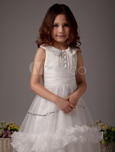 de4fce64578 ... White Flower Girl Dress Boho Satin Sleeveless Long Dresses For Little  Girls-No.4 ...