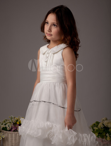1d547db611e ... White Flower Girl Dress Boho Satin Sleeveless Long Dresses For Little  Girls-No.5 ...