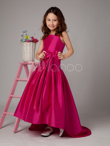 eeb7fb9092 ... Flower Girl Dress Hot Pink Taffeta A Line Bow Toddler s Pageant Dress  With Train- ...