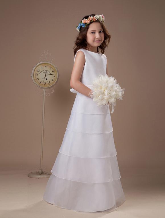 white a line multi layer satin first communion dress. Black Bedroom Furniture Sets. Home Design Ideas