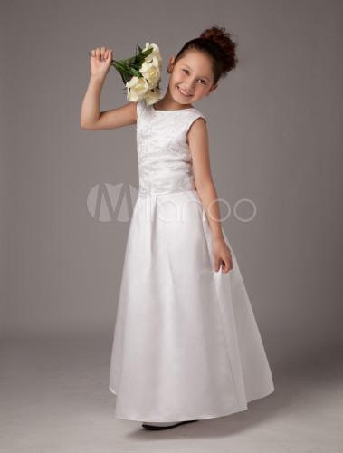 6f3328026 ... Vestidos de primera comunion para niñas de satén con escote redondo y  bordado de estilo dulce ...