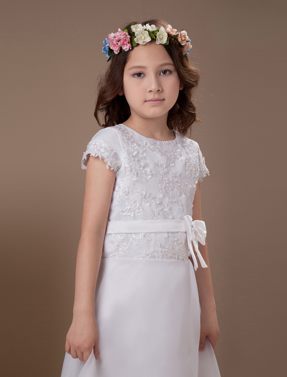 sweet a line white satin ankle length first communion. Black Bedroom Furniture Sets. Home Design Ideas