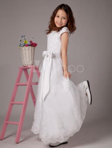 Vestidos de primera comunion blanco con fucsia