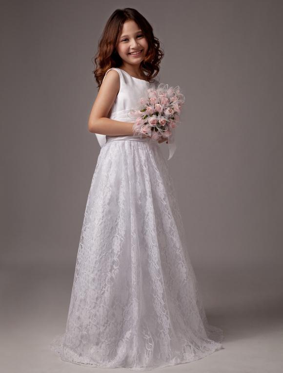 white bow a line lace satin flower girl dress. Black Bedroom Furniture Sets. Home Design Ideas