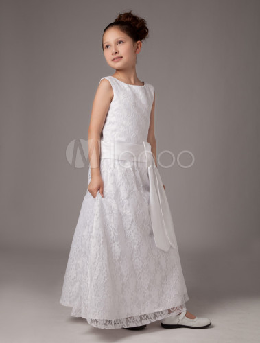 white sash satin first communion dress. Black Bedroom Furniture Sets. Home Design Ideas
