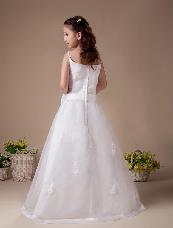 white spaghetti zip closure satin first communion dress. Black Bedroom Furniture Sets. Home Design Ideas
