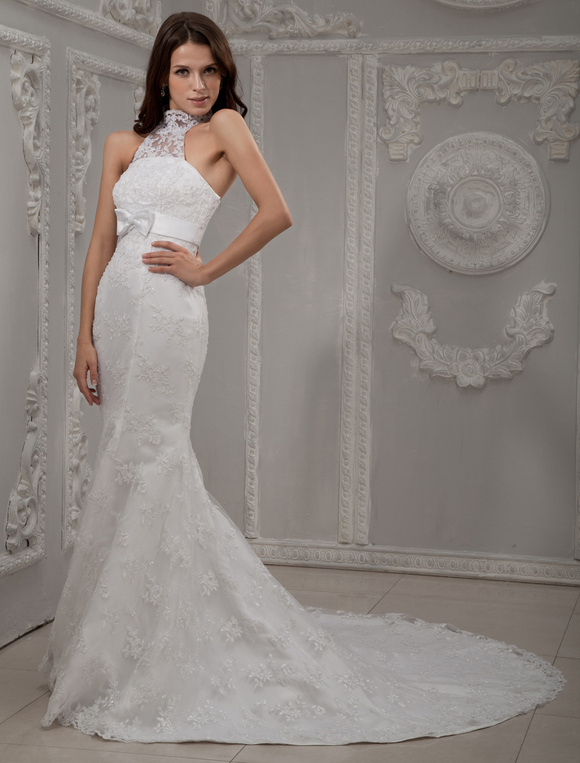 White Halter Neck Lace Bridal Mermaid Trumpet Wedding Dress No 2