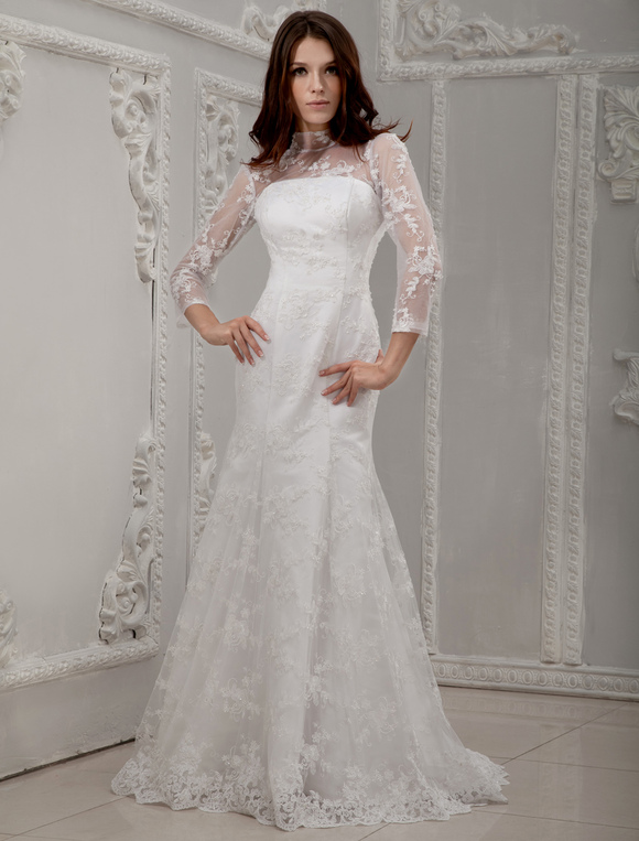 White long lace sleeves bridal wedding dress milanoocom for Long white wedding dresses