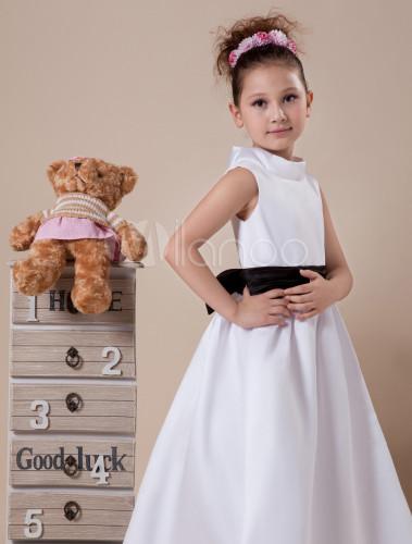 Beautiful white satin black sash flower girl dress milanoo beautiful white satin black sash flower girl dress no5 mightylinksfo