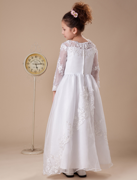 White Floor Length First Communion Dresses Milanoo Com