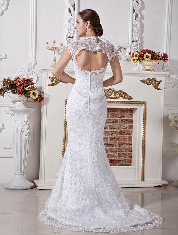 Lace Wedding Dresses White V Neck Bridal Dress Open Back