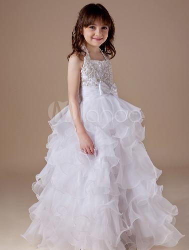 White Flower Girl Dress Halter Ruffles - Milanoo.com