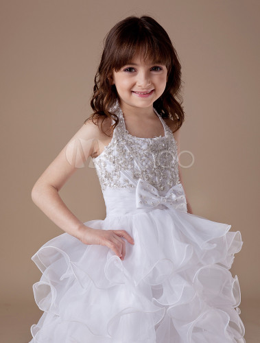 Perles En Avec Cortège Licou Enfant Blanc Satin Robe À Du MpVUGqzS