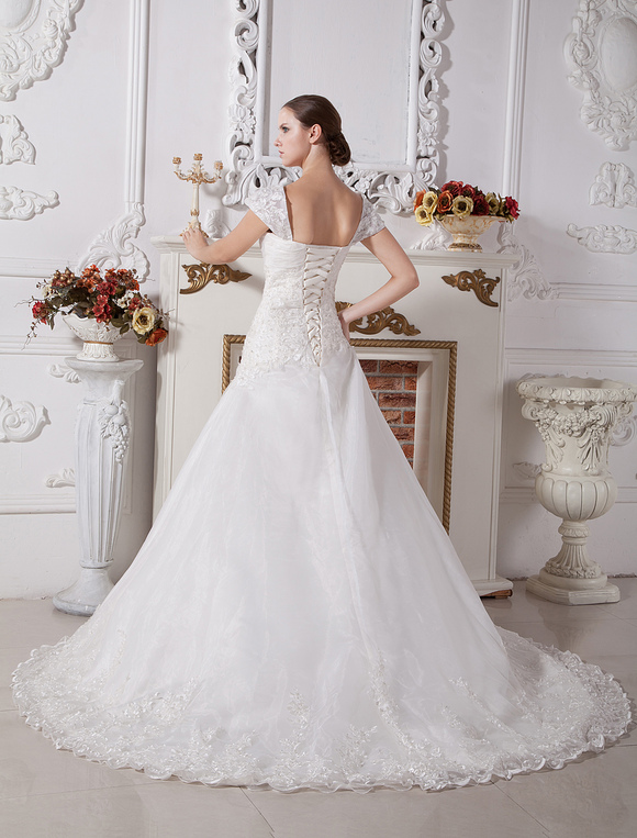 White A Line Sweetheart Cap Sleeves Lace Satin Wedding Dress