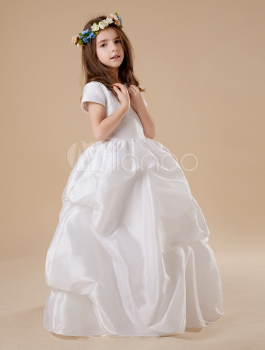 White Short Sleeves Ruched Bottom Embroidery Satin Flower