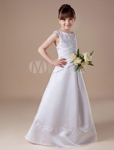 Vestidos De Primera Comunion Para Niñas De Satén De Color Blanco