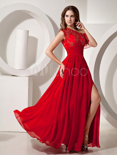 attractive red chiffon one shoulder side split evening