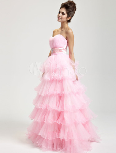 Pink Hard Yarn Floor Length Masquerade Ball Gowns