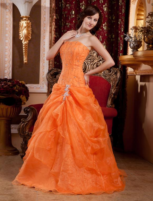 vestidos de fiesta de prom de organdí de color naranja con escote de