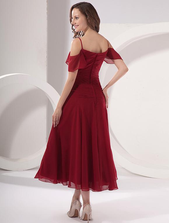 Vestido para la mamá de la novia de color borgoña de satén y de gasa de línea A hasta el tobillo 4gkHySY