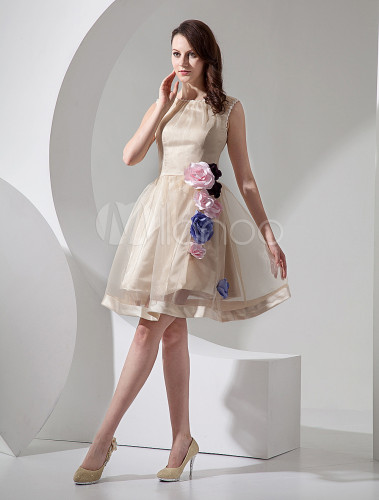 Short wedding dresses champagne organza bridal dress for Short champagne wedding dress