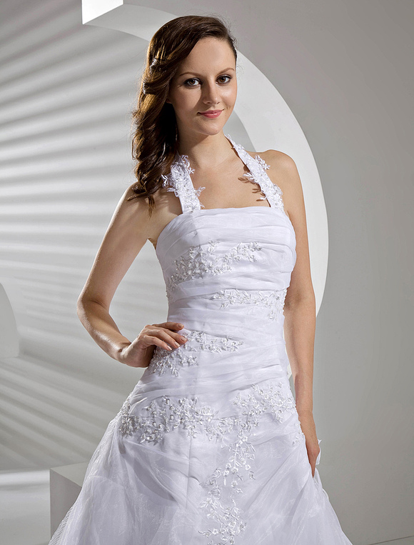 Floor Length White Bridal Wedding Gown With Halter A Line
