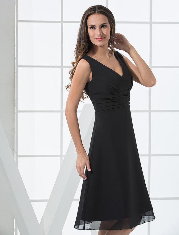 purchase cheap 9245f a8f16 Abendkleid Schwarz Kurz Cocktailkleid mit V-Ausschnitt Kleider für  Hochzeitsgäste Abschlusskleider